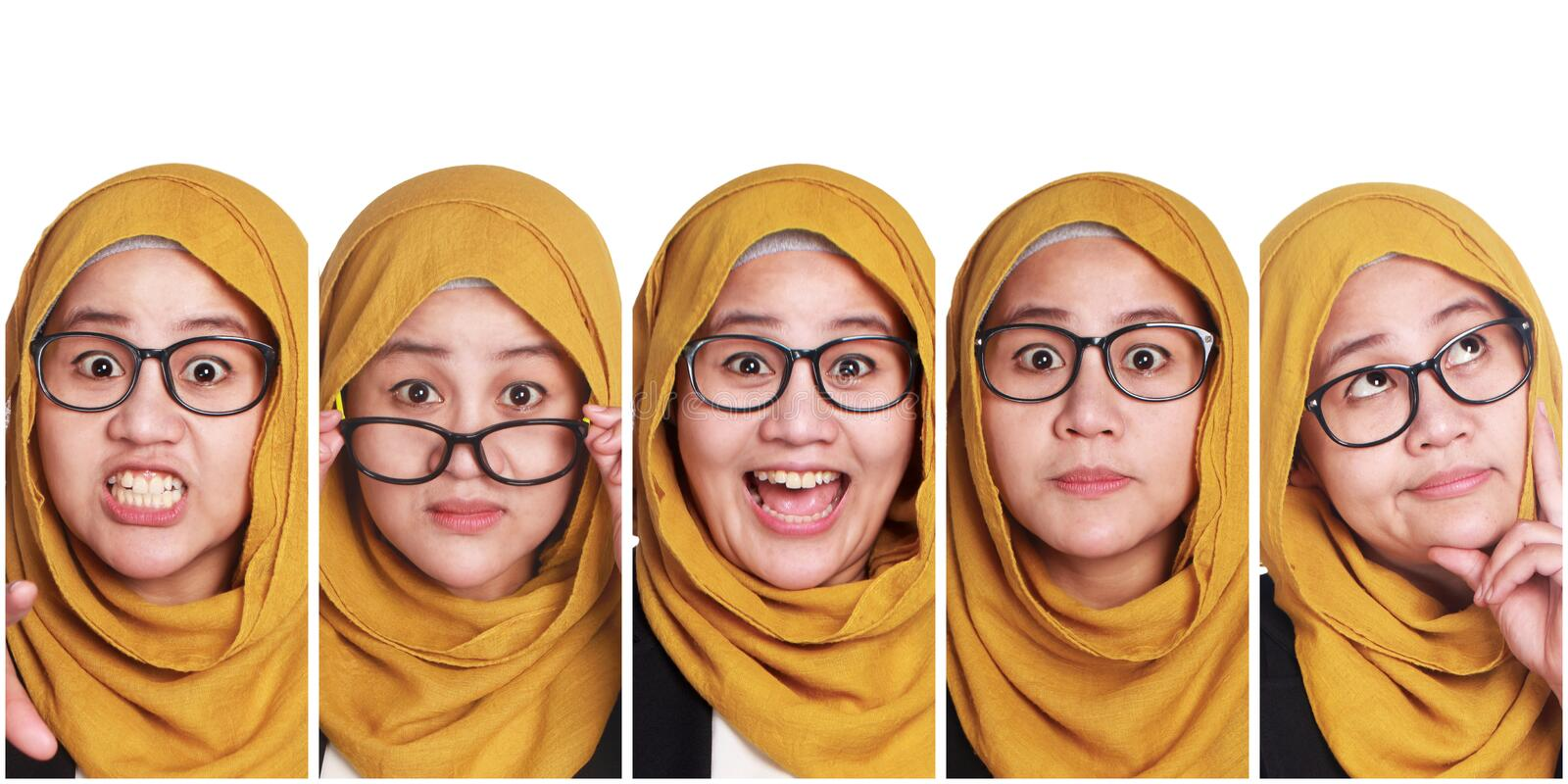 Muslim Woman& x27;s Facial Expressions Collage stock image