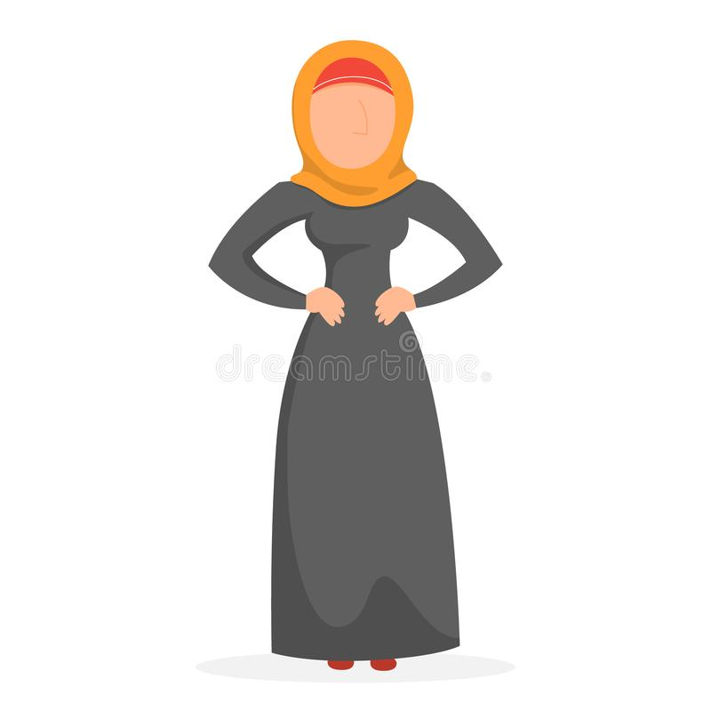 Muslim woman standing in the national clothes. Muslim woman standing in national clothes. Arabic female character in abaya. Isolated vector illustration in royalty free illustration
