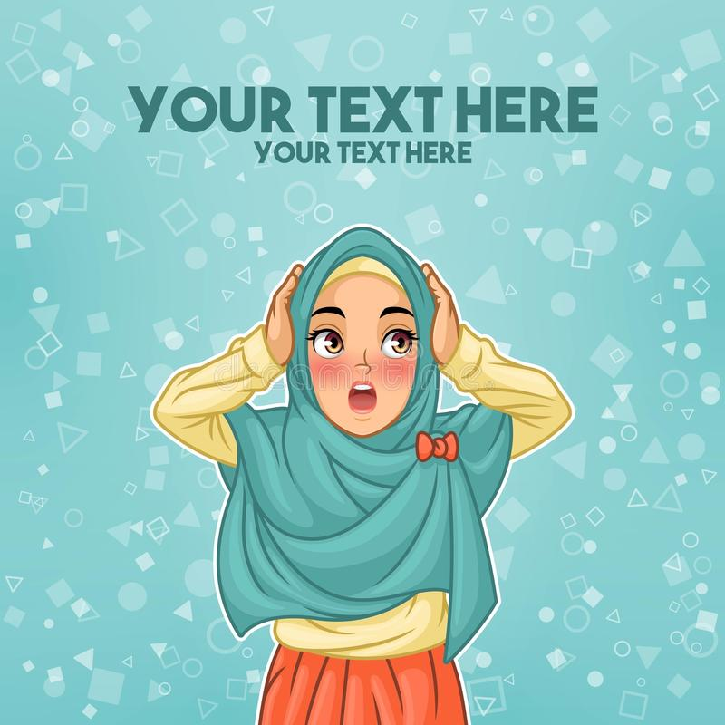 Muslim woman surprised with holding her head royalty free illustration