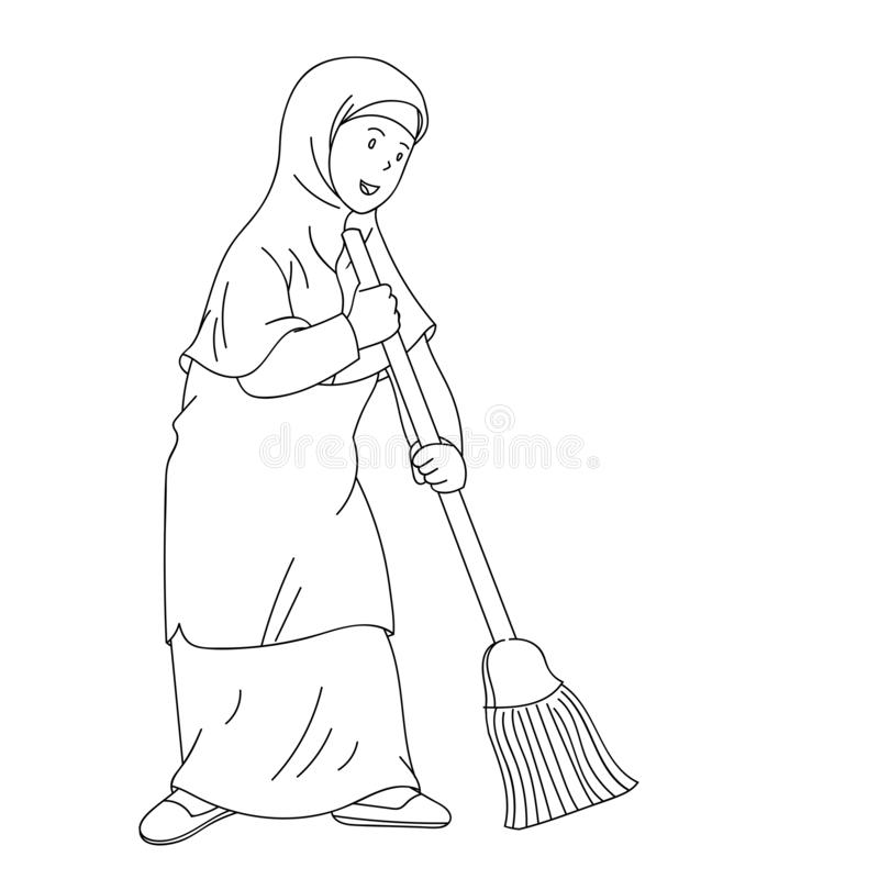 Muslim woman sweeping clean home hand drawn illustration royalty free illustration
