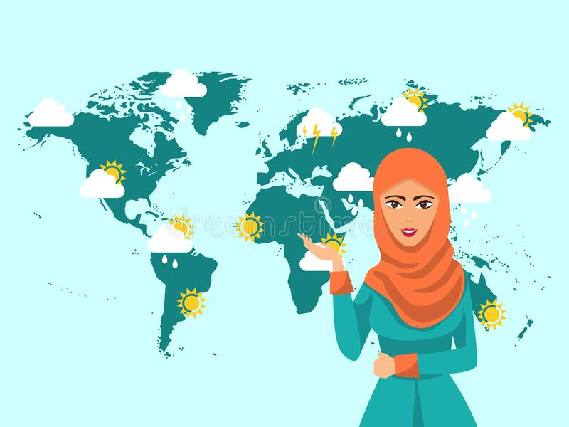 Muslim woman TV weather forecast reporter at work vector illustration. Muslim girl meteorology at television broadcast. vector illustration