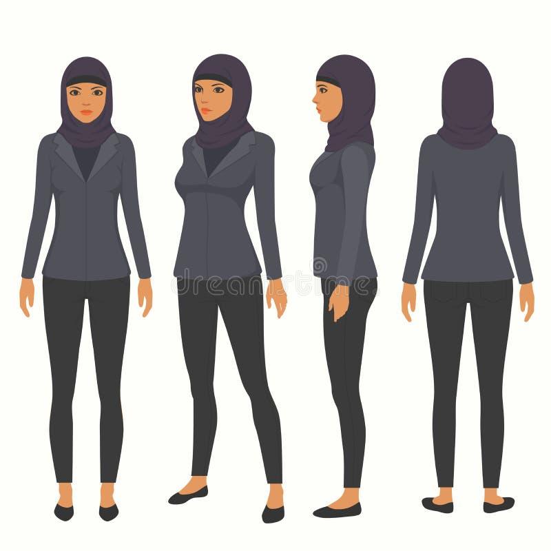 Muslim woman, vector arab business character, stock illustration