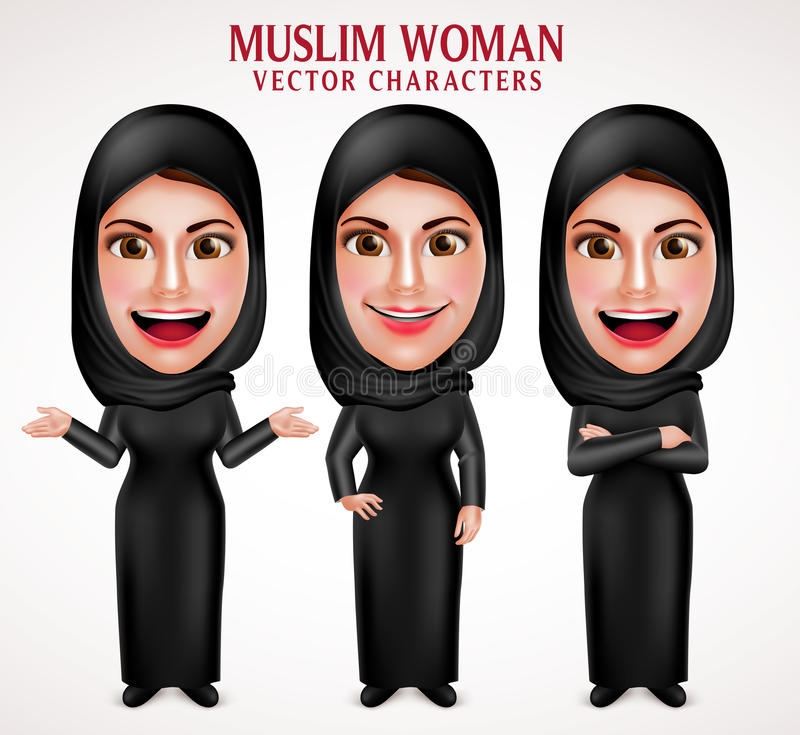 Muslim woman vector characters set wearing hijab black clothes royalty free illustration