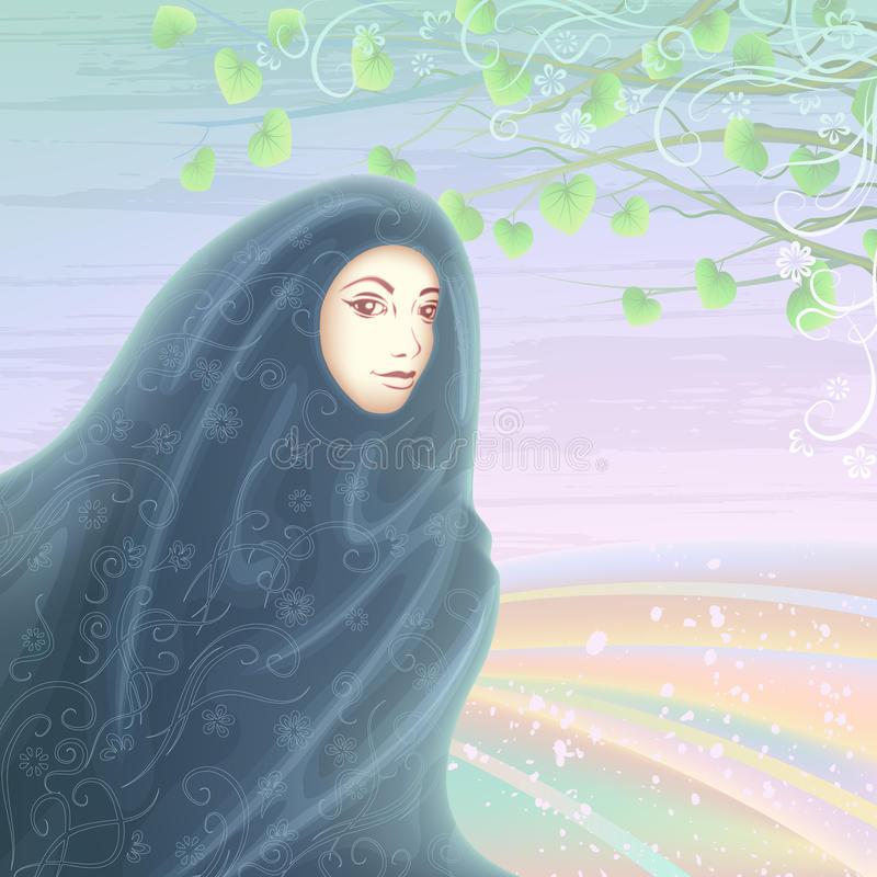 Muslim woman wearing a hijab. Smiling muslim woman wearing a dark hijab against light pastel landscape royalty free illustration