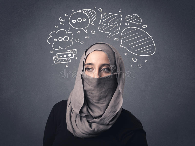 Muslim woman wearing niqab. Young muslim woman wearing niqab with drawn speech bubbles above her head stock photos