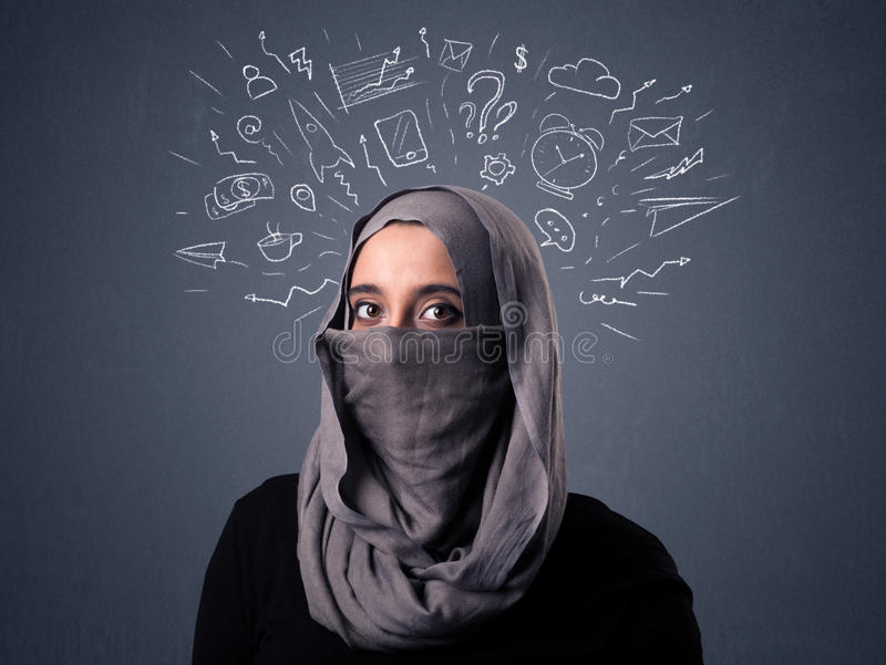 Muslim woman wearing niqab. Young muslim woman wearing niqab with mixed white drawings above her head stock images
