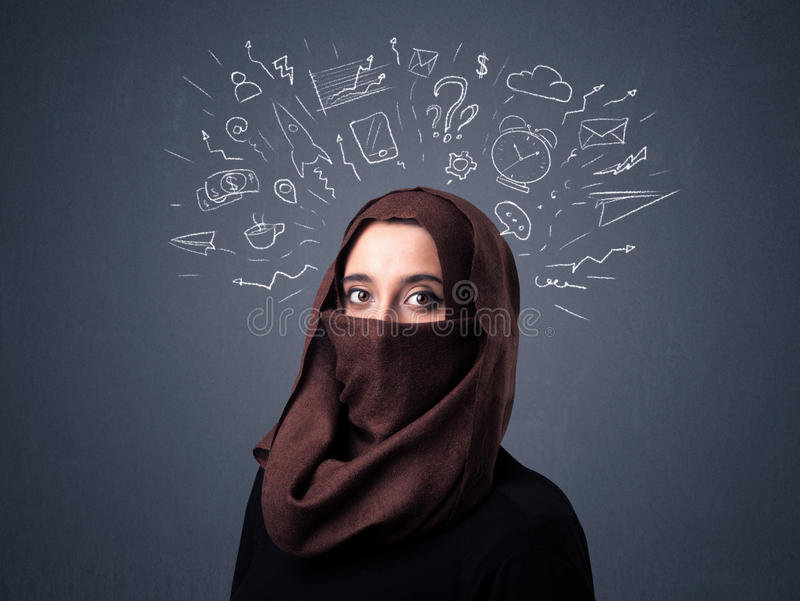 Muslim woman wearing niqab. Young muslim woman wearing niqab with mixed white drawings above her head royalty free stock photography