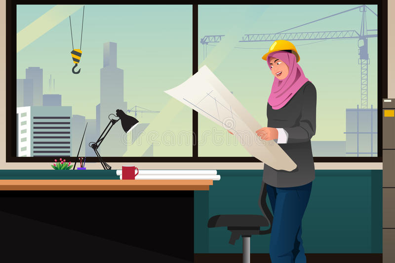 Muslim Woman Working in a Construction Office vector illustration