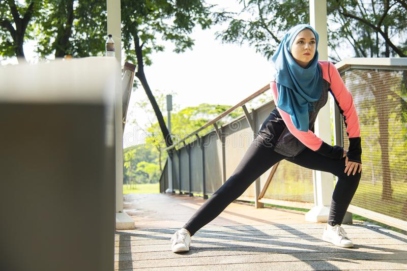 Muslim woman working out alone royalty free stock photos