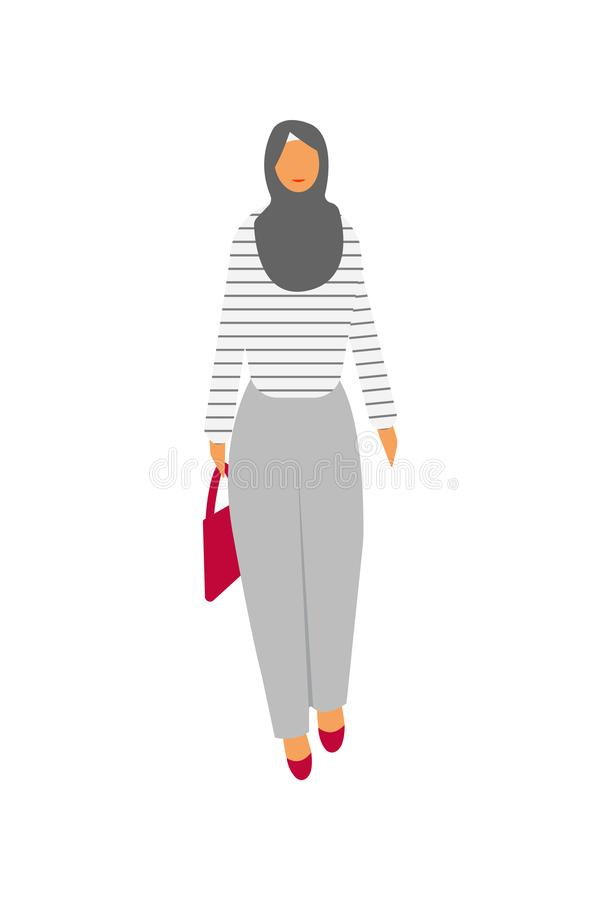 Muslim women character is happy and smiling. Muslim young woman wearing hijab vector illustration