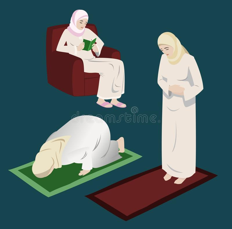 Muslim Women Doing Religious Rituals. Muslim women doing religious Islamic rituals; praying, prostration, & reading in the holy Quran vector illustration