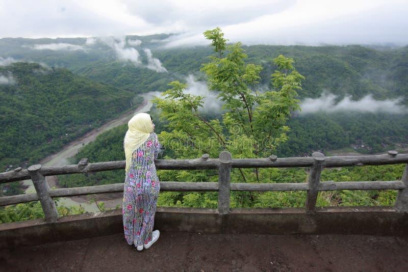 Muslim Women Enjoy Holiday in the Cool Nature of Mangunan stock photo