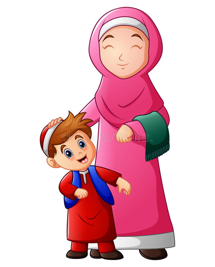 A muslim women hold her son head and ready to go to mosque royalty free illustration