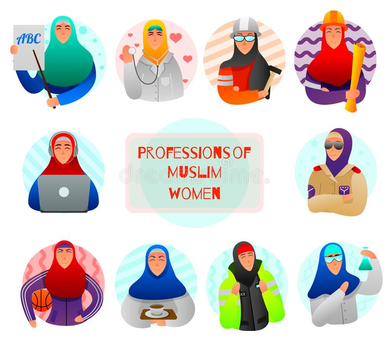 Muslim Women Professions Flat Set. Set of flat icons professions of muslim women teacher doctor military builder and scientist isolated vector illustration royalty free illustration