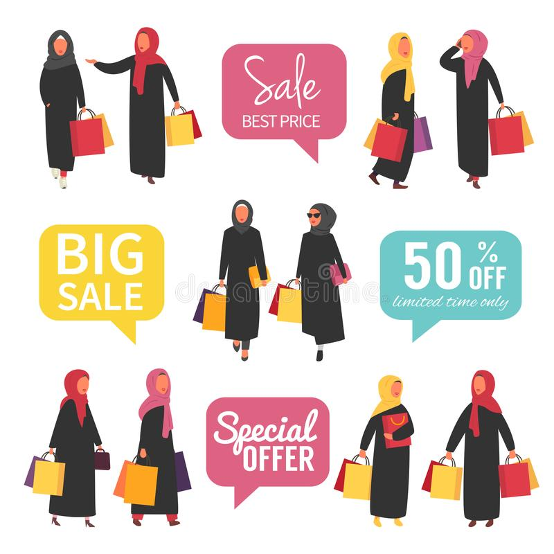 Muslim women at sale making shopping with discount. Vector illustration. Muslim moman shopping during sale. Arabic women in hijab and abaya with shopping bags stock illustration
