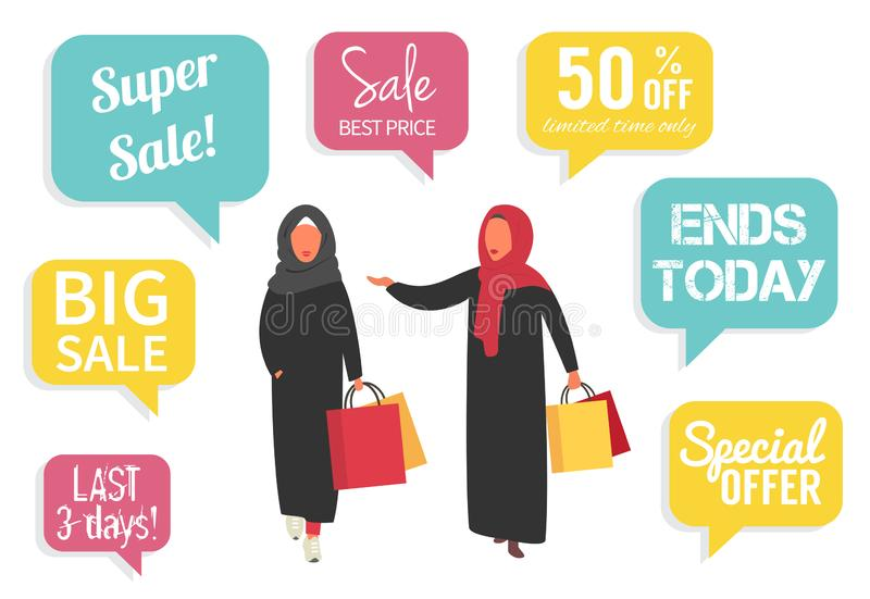 Muslim women at sale making shopping with discount. Vector illustration. Muslim moman shopping during sale. Arabic women in hijab and abaya with shopping bags royalty free illustration