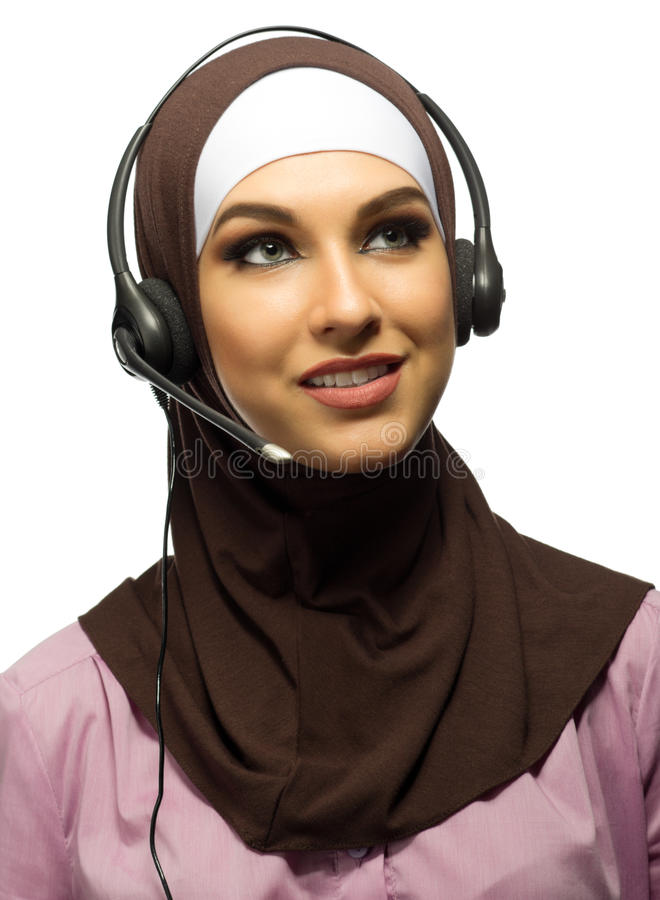 Muslim young woman call center worker. Isolated royalty free stock images
