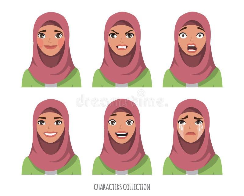 Muslim young woman wearing hijab. Set of emotions.  stock illustration