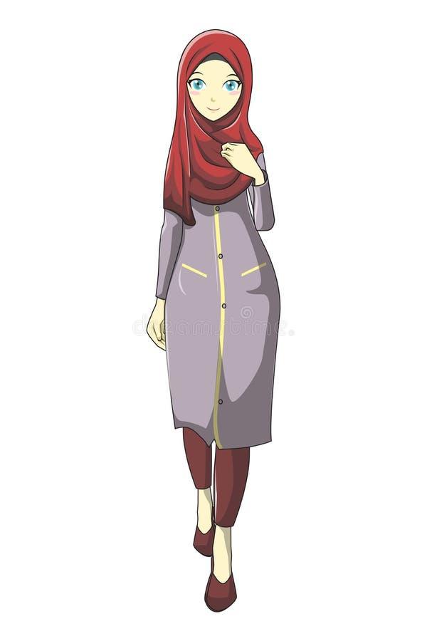Muslimah de Hijab avec la couleur rouge du style v1 de manga illustration libre de droits