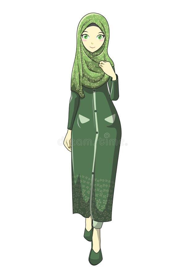 Muslimah de Hijab avec la couleur verte du style v1 de manga illustration libre de droits