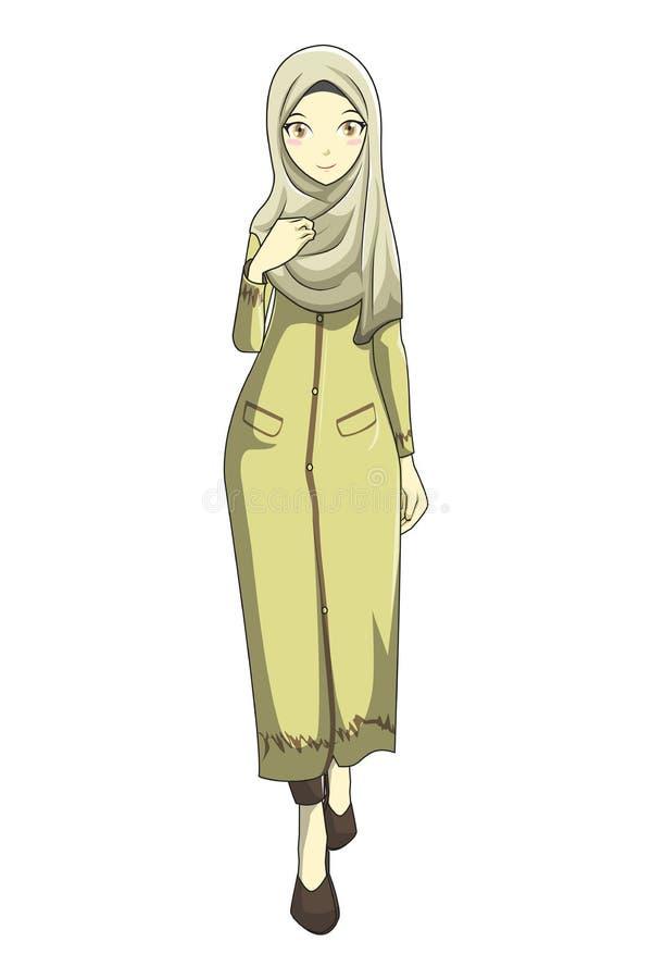 Muslimah de Hijab avec le brun du style v1 de manga illustration libre de droits