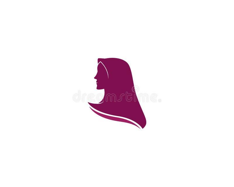 Muslimah hijab logo szablonu wektoru ilustracja ilustracja wektor