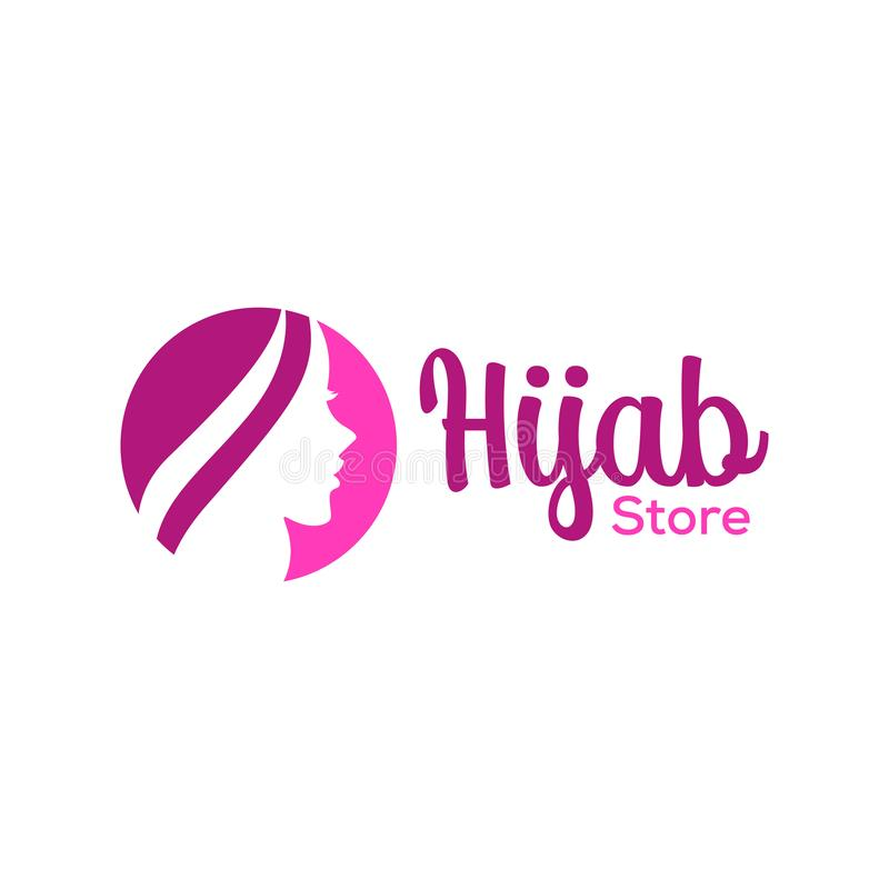 Muslimah kobieta w hijab, kobiety piękno w hijab logo projekcie, wektorowa ilustracja royalty ilustracja