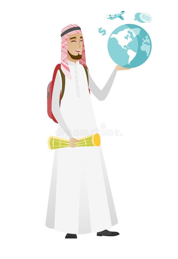 Muslimsk översikt och jordklot för handelsresandemaninnehav royaltyfri illustrationer