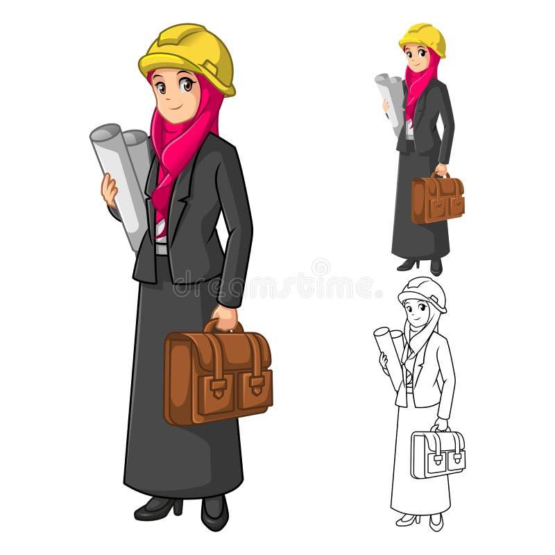 Muslimsk affärskvinnaarkitekt Wearing Pink Veil eller halsduk med den hållande portföljen vektor illustrationer