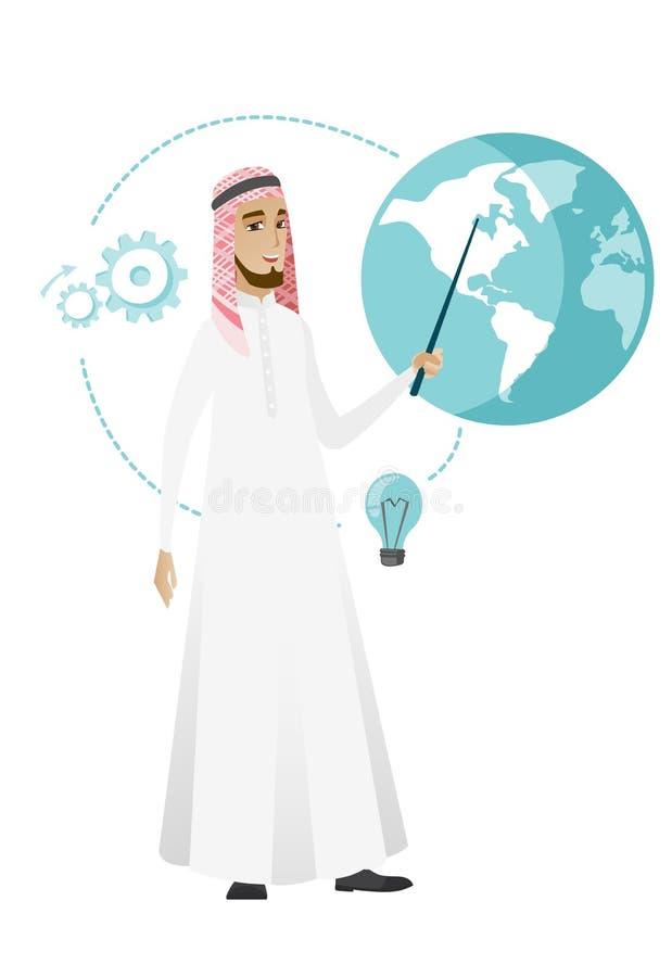 Muslimsk affärsman som pekar på ett jordklot royaltyfri illustrationer