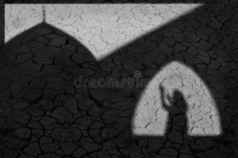 Muslimsk bön En idérik svartvit bild med skuggor på den spruckna jorden royaltyfri fotografi
