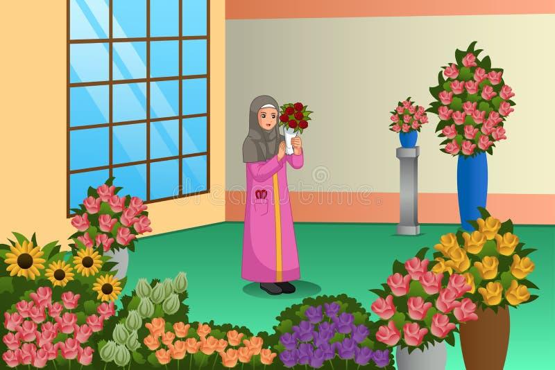 Muslimsk blomsterhandlare Working på lagerillustrationen royaltyfri illustrationer