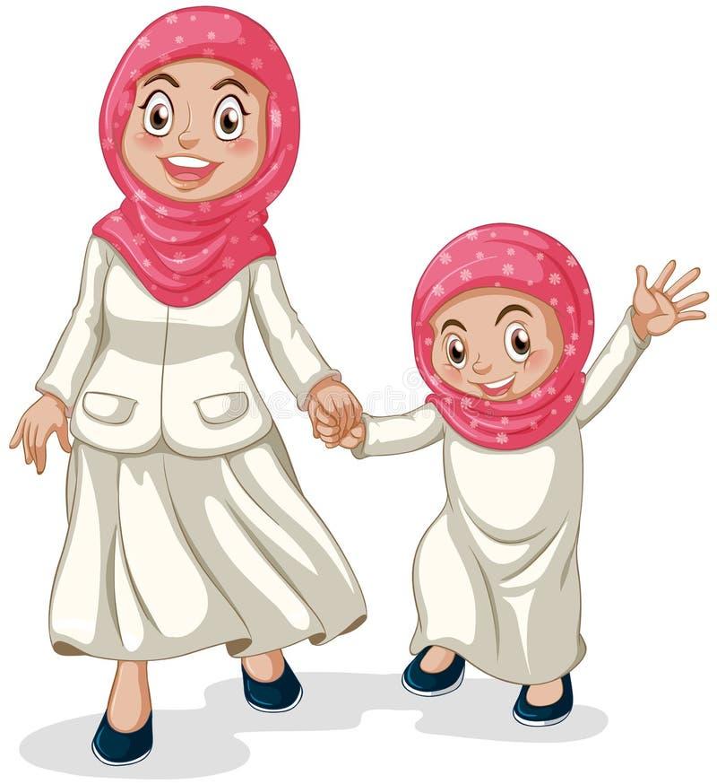 Muslimsk familj stock illustrationer