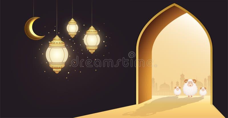 Muslimsk ferie Eid Al-Adha Vita får eller att offra RAM på dörren av en moské med den växande månen och glödande lyktor royaltyfri illustrationer