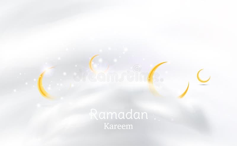 Muslimsk festmåltid av den heliga månaden av Ramadan Kareem Mall för hälsningkort med den växande månen och moln och ljus effekt  vektor illustrationer