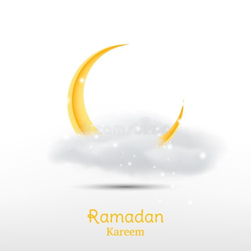 Muslimsk festmåltid av den heliga månaden av Ramadan Kareem Mall för hälsningkort med den växande månen och moln och ljus effekt  stock illustrationer