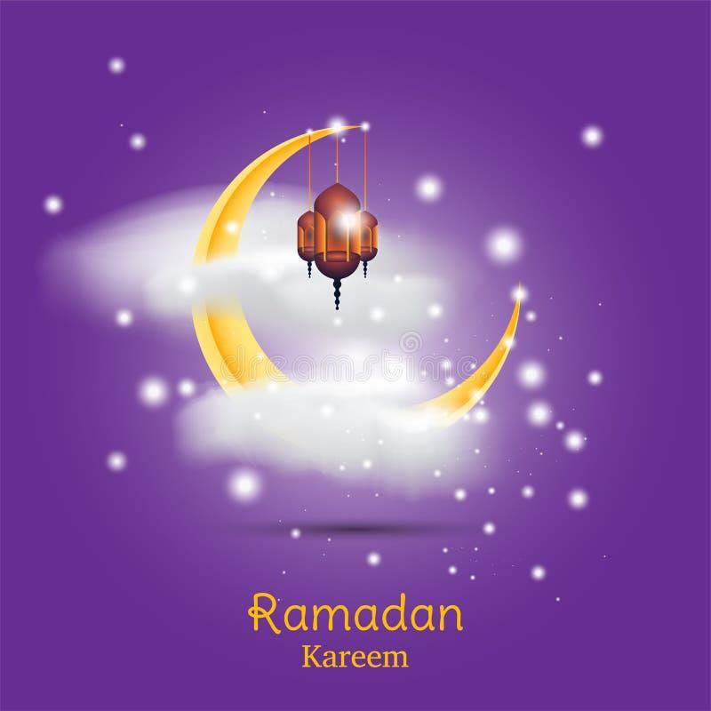 Muslimsk festmåltid av den heliga månaden av Ramadan Kareem Mall för hälsningkort med den växande månen och molnet med lampan och stock illustrationer