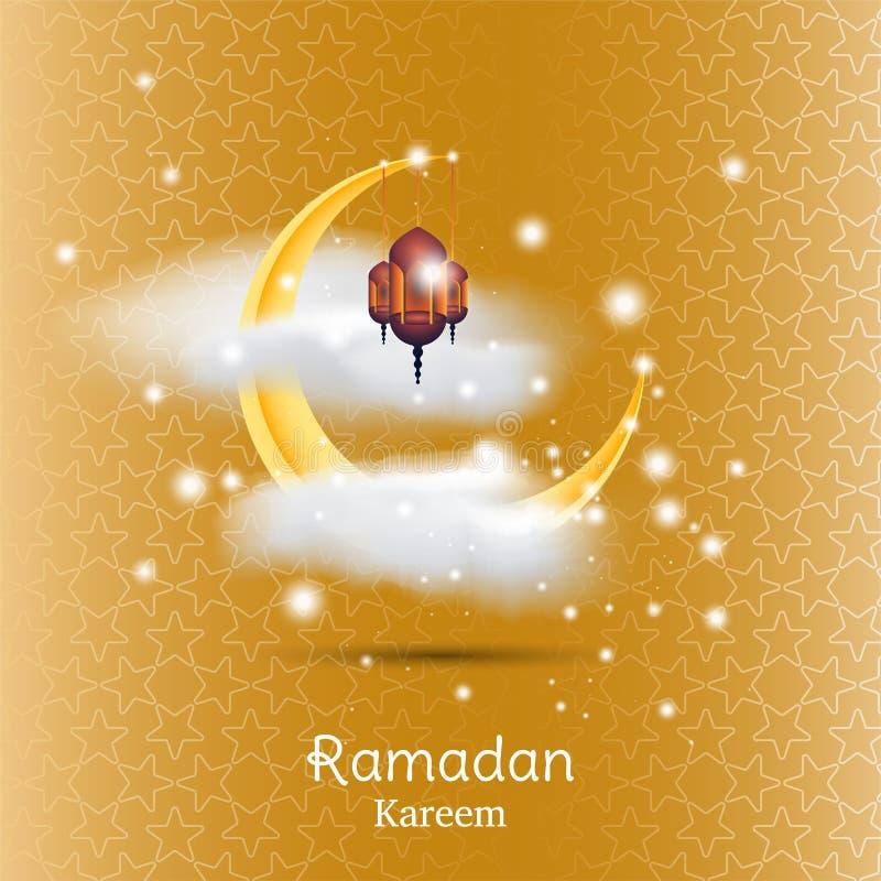 Muslimsk festmåltid av den heliga månaden av Ramadan Kareem Mall för hälsningkort med den växande månen och molnet med lampan och vektor illustrationer