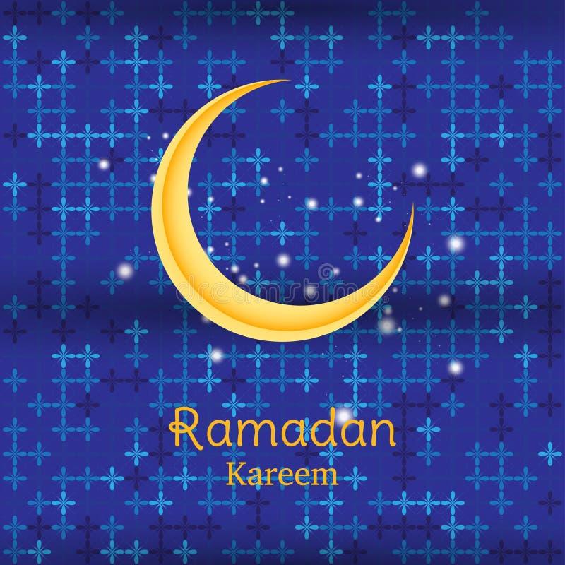 Muslimsk festmåltid av den heliga månaden av Ramadan Kareem Mall för hälsningkort med den växande månen Plan illustration Eps 10 vektor illustrationer