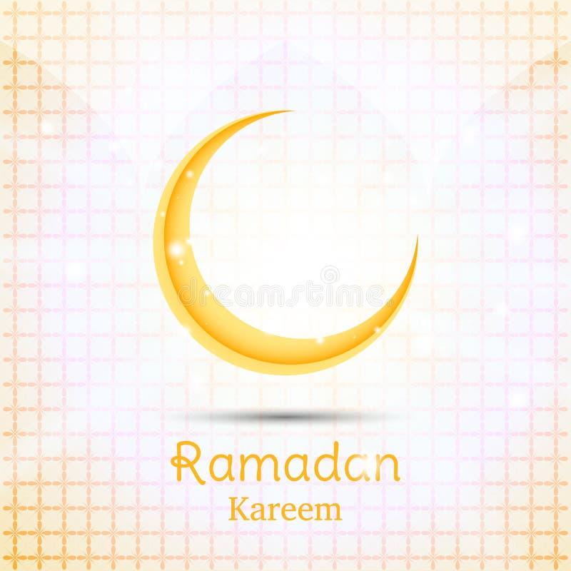 Muslimsk festmåltid av den heliga månaden av Ramadan Kareem Mall för hälsningkort med den växande månen Plan illustration Eps 10 stock illustrationer