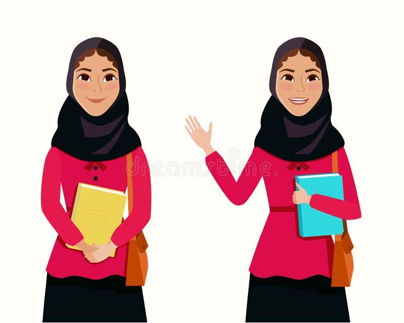 Muslimsk flicka i hijab med boken i hand vektor illustrationer