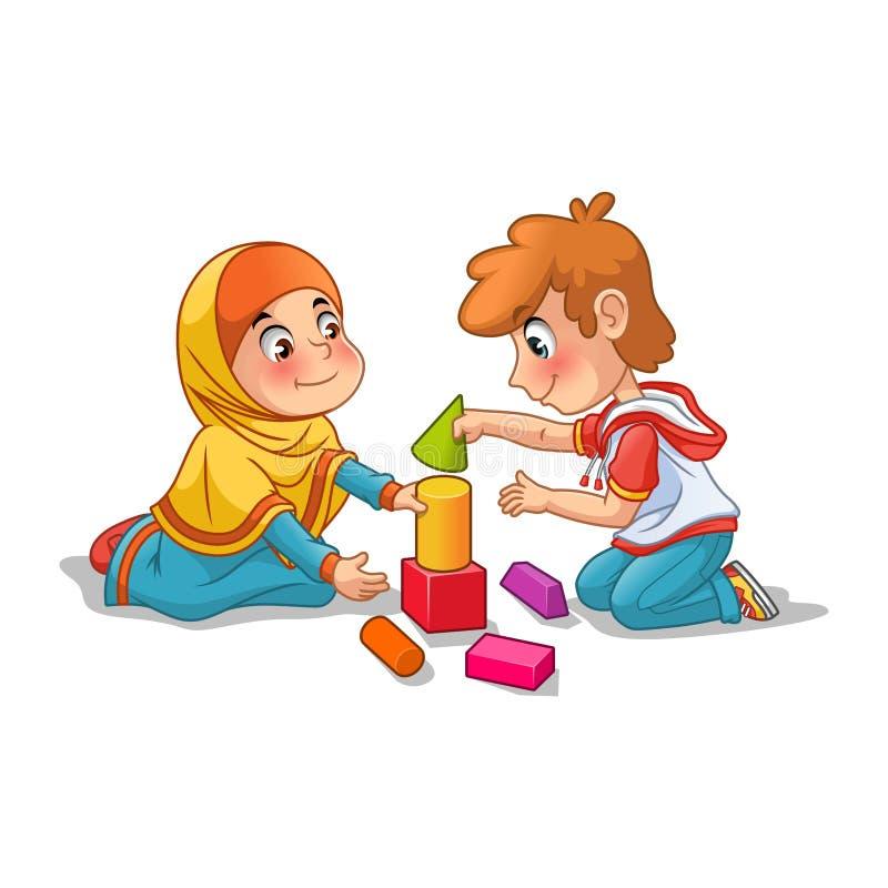 Muslimsk flicka och pojke som spelar med byggnadskvarter royaltyfri illustrationer