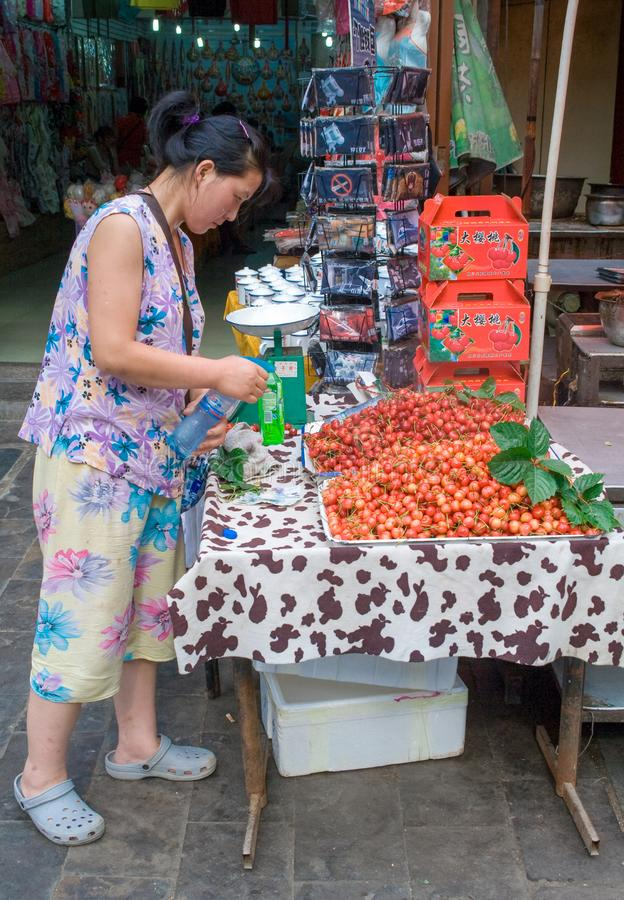 Muslimsk gata i Xian Det huvudsakliga matgataområdet är bekant som den Huimin gatan eller muslimsk fjärdedel royaltyfri foto