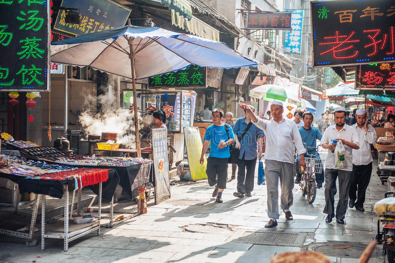 Muslimsk gata i Xian, Kina royaltyfria bilder