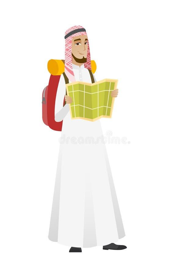 Muslimsk handelsresande med ryggsäcken som ser översikten stock illustrationer