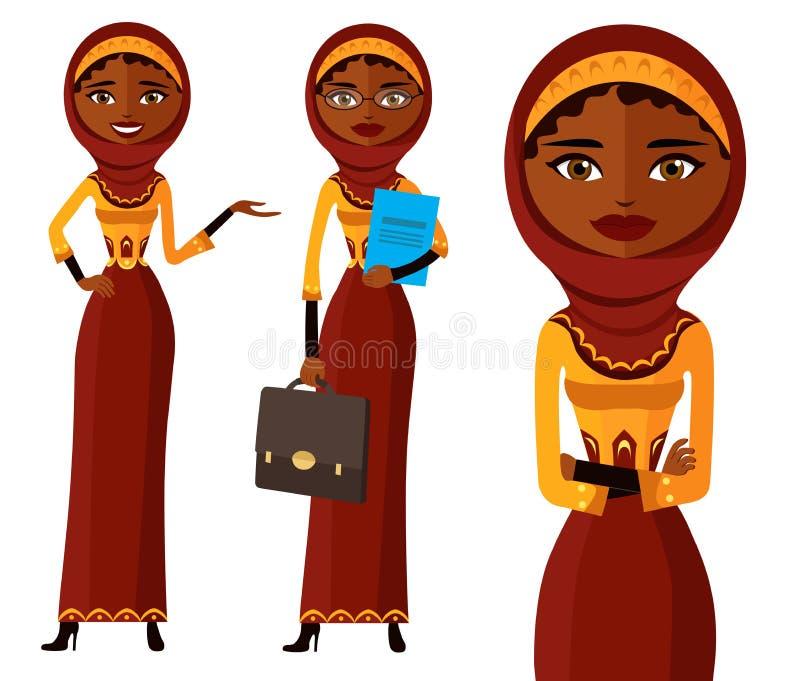 Muslimsk illustra för tecknad film för vektor för lägenhet för uppsättning för kvinna för arabIran affär vektor illustrationer