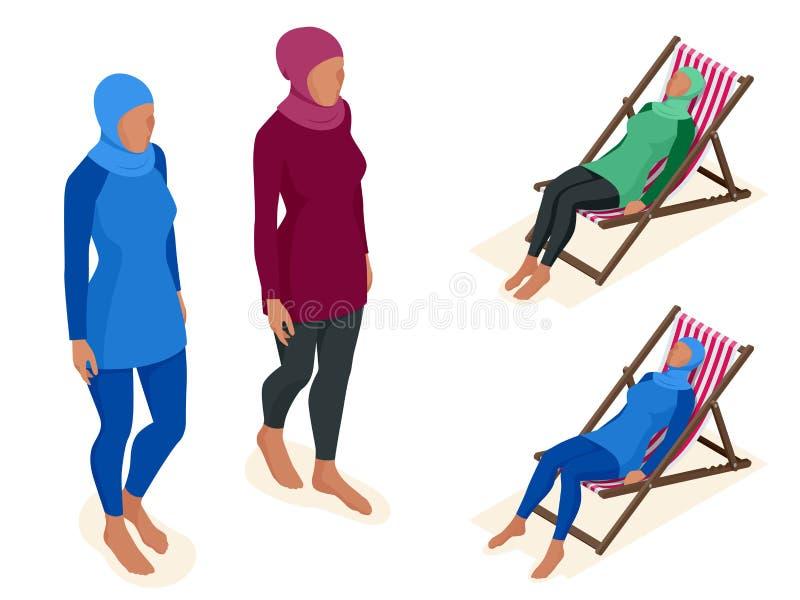 Muslimsk kvinna i baddräkt stock illustrationer