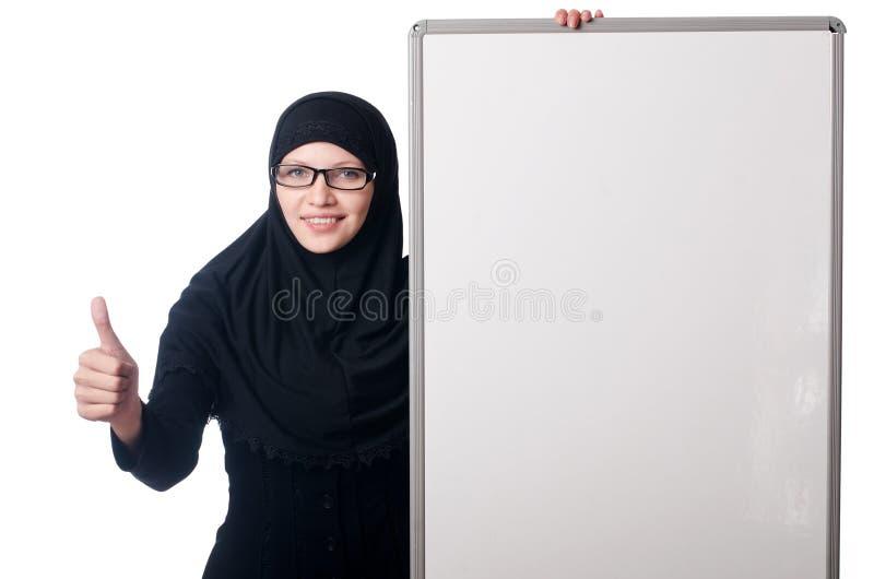 Muslimsk kvinna med det tomma brädet arkivfoton
