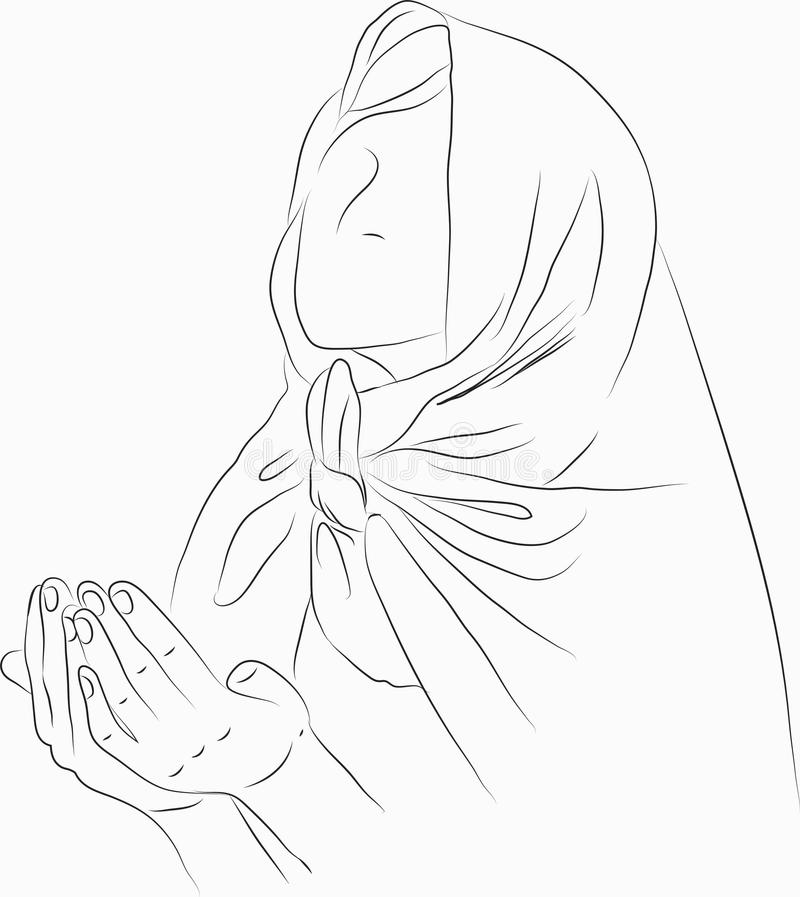 Muslimsk kvinna som ber i vit backgound stock illustrationer