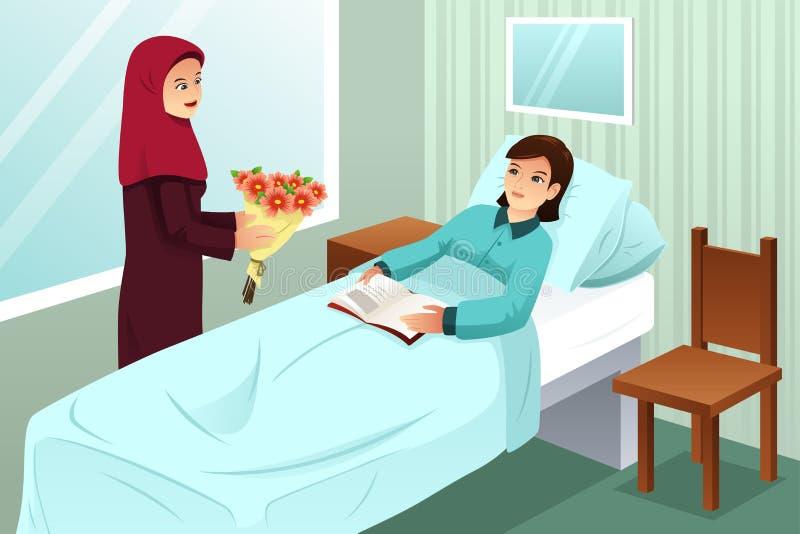 Muslimsk kvinna som besöker en vän i sjukhuset stock illustrationer